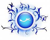 scubadiver icon on blue decorative button