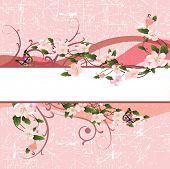 beautiful vector illustration with beautiful bouquet flowers and butterfly