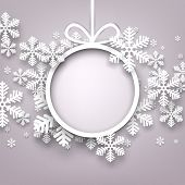 image of invitation  - Christmas snowflakes background with paper round ball - JPG