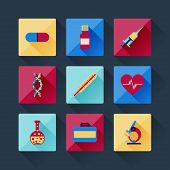 Set of medical icons in flat design style.