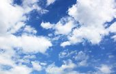 picture of cumulus-clouds  - White fluffy clouds in the blue sky - JPG