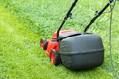 pic of grass-cutter  - new lawnmower on green grass in cloudy day - JPG