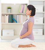 Prenatal yoga. Full length healthy 8 months pregnant calm Asian woman meditating home. Relaxation yo