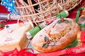 Christmas Stollen And Coconut Cake Close Up