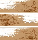 image of crockery  - Vintage vector hand drawn coffee backgrounds with coffee beans - JPG