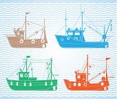 stock photo of life-boat  - Set of different types of fishing boats - JPG