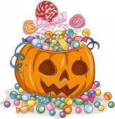 Illustration of a Jack-o'-Lantern Filled with Candies Gathered from Trick or Treating