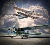 pic of biplane  - Retro style picture of the biplanes - JPG