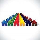 Concept Vector Community Living - Colorful Houses Or Homes In Rows