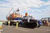 HASTINGS, ENGLAND - AUGUST 10: The Hastings lifeboat Sealink Endeavour takes part in the annual Old
