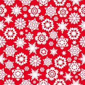 Seamless Pattern With Red Snowflakes On A  White  Background.winter Background.vector