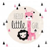 Cute giraffe and lion animal illustration hello baby girl birth announcement card template in vector
