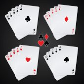 royal flush playing cards on black background