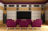 stock photo of home theater  - Contemporary home theater room with purple armchair and wooden panels  - JPG