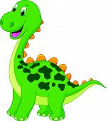 Cute green dinosaur cartoon