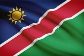 Series Of Ruffled Flags. Republic Of Namibia.