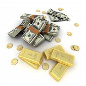 A fortune in dollar notes, ingots and gold coins