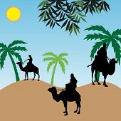 image of hump day  - Abstract colorful illustration with people riding camels near an oasis - JPG