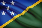 Series Of Ruffled Flags. Solomon Islands.