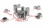 picture of collaboration  - Stacks of generic coins over white background with red arrows pointing the highest pile - JPG