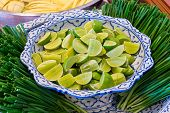 Sliced Lime Ready For Thai Dish