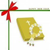New Year Gift Card with Bible and Flower Garland