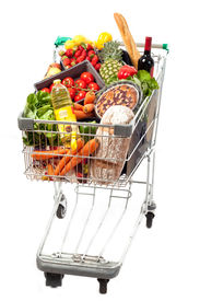 picture of grocery cart  - A shopping cart full of groceries on a white background - JPG