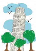 Pisa Tower - hand drawn vector illustration for magazine or newspaper