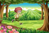 Illustration of an explorer running at the jungle