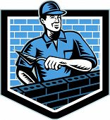 picture of mason  - Illustration of a birck layer tiler plasterer mason masonry construction worker wth trowel done in retro style - JPG