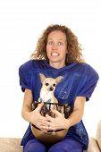 Woman Football Player Dog In Helmet