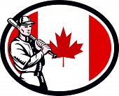picture of hitter  - Illustration of a Canadian baseball player batter hitter holding bat on shoulder set inside oval shape with Canada maple leaf flag done in retro woodcut style isolated on white background - JPG