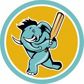 picture of cricket bat  - Illustration of an african elephant batting with cricket bat done in cartoon style on isolated white background - JPG