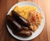 Czech Food - Black And White Pudding With Potatoes And Sauerkraut