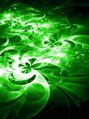 Green Cyber Glow Geometric Flowers - fractal design