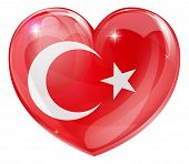 picture of crescent-shaped  - Turkey flag love heart concept with the Turkish flag in a heart shape - JPG