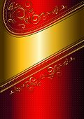 stock photo of solemn  - The solemn shiny red card with gold border and gold calligraphic pattern - JPG