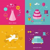 Wedding Party Concept Set -flat icons of wedding dress, ring, car, cake, hearts, cupid, gift - in vector
