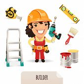 Female Builders Icons Set