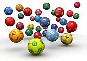 stock photo of algeria  - Country flag soccer balls 3d illustration - JPG