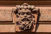 picture of tenement  - Architectural details on the old tenement facade in Katowice - JPG