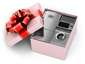 Home appliance in gift box with ribbons and bow 3d
