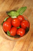 stock photo of plum tomato  - some organic plum tomato salad in bowl - JPG