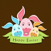 Happy Easter celebrations flyer, banner or poster design with bunny faces decorated eggs on brown ba