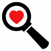 Black vector sign of magnifying glass with red heart isolated on white background