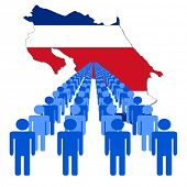 Lines of people with Costa Rica map flag vector illustration