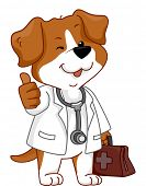 Illustration Featuring a Dog Wearing a Veterinarian's Costume Giving a Thumbs Up