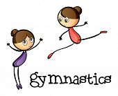 Illustration of the two gymnasts on a white background