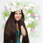 Beautiful Smiling Girl with Orchid Garland