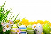 stock photo of egg whites  - Border arranged with Easter eggs little spring flowers and grass on white background - JPG